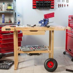 Établi d'atelier avec roues