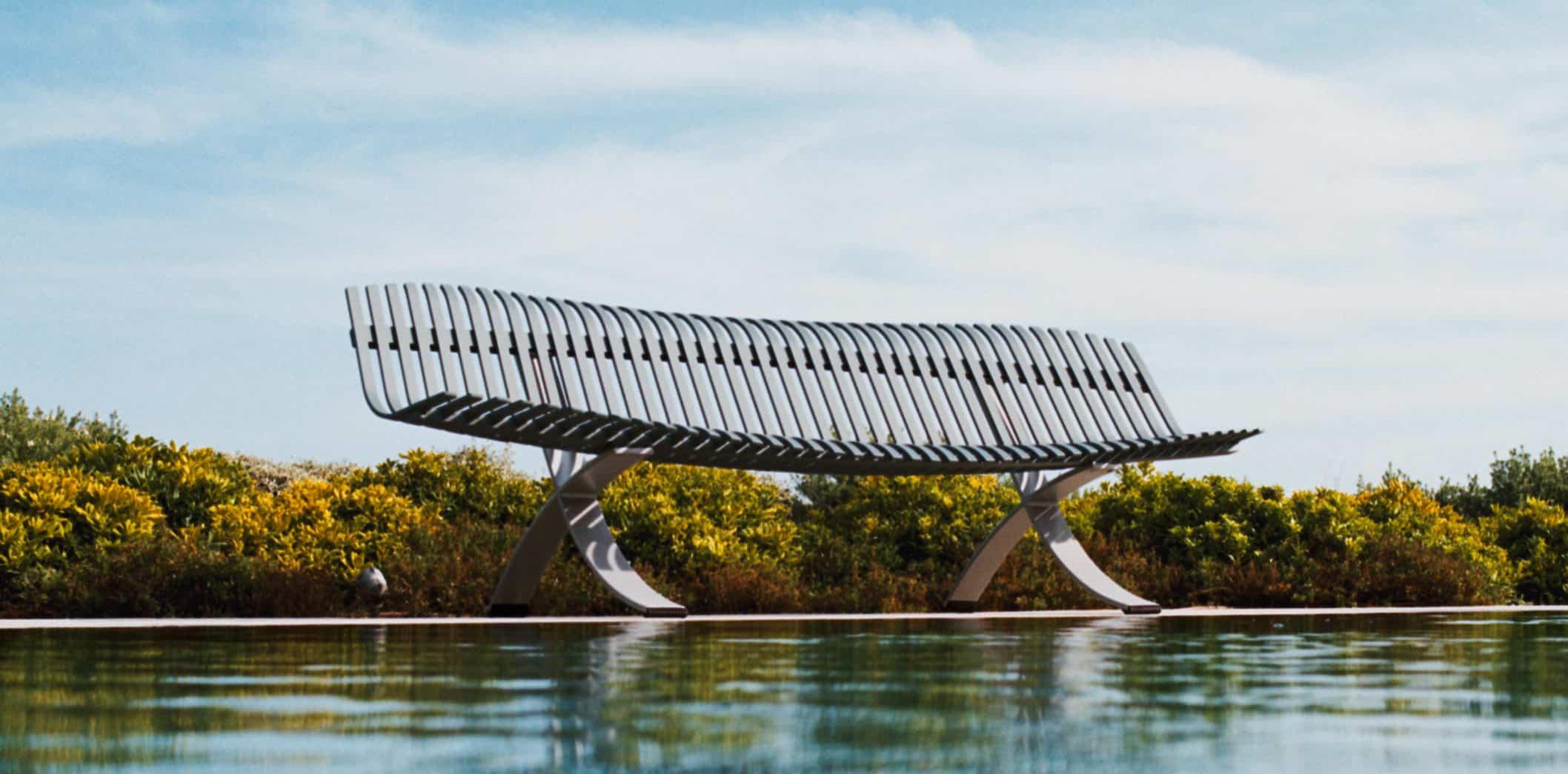 banc de jardin métallique moderne