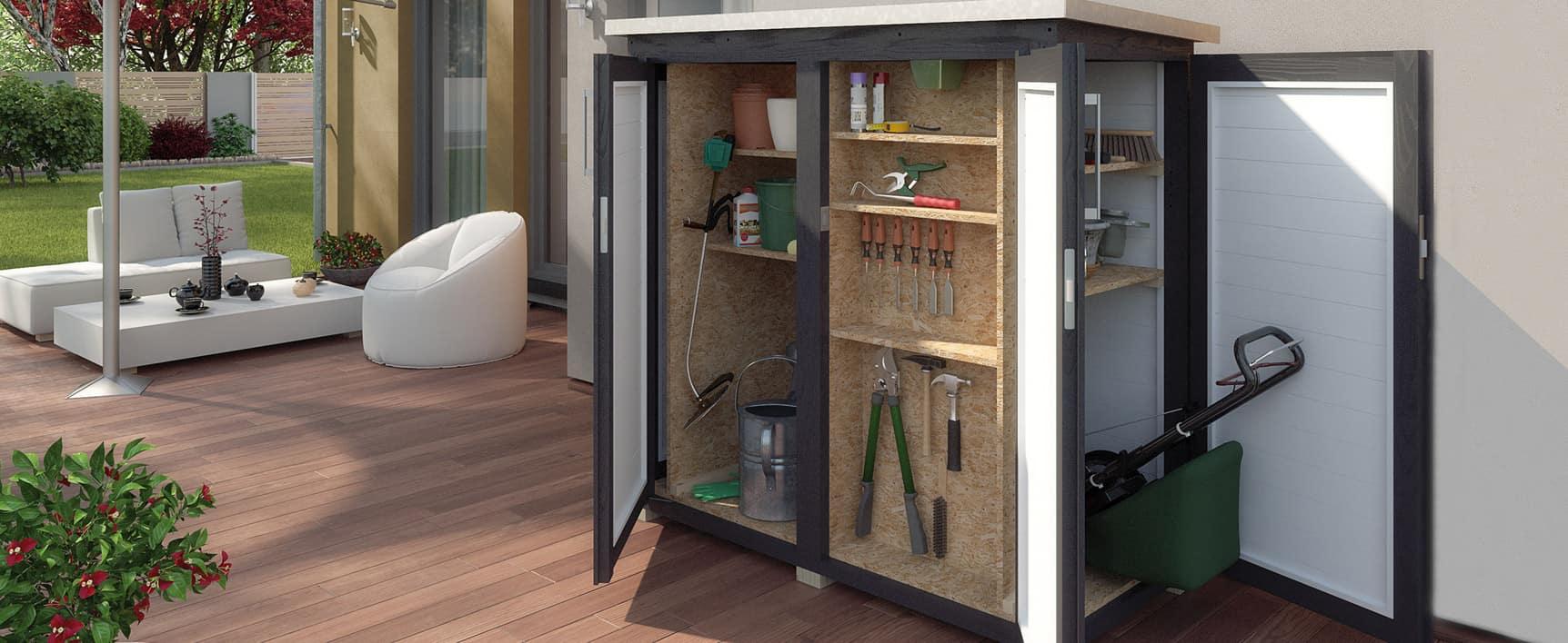 armoire de jardin avec outils